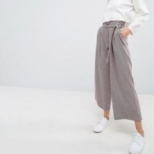 ASOS Tailored - Jupe-culotte portefeuille avec anneau en D sur le devant motif coloré à carreaux et pied-de-poule