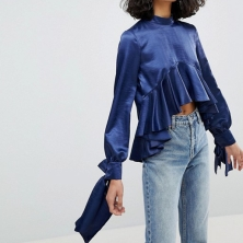 Reclaimed Vintage Inspired - Top smocké asymétrique en satin